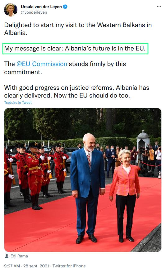 Albanie,von der leyen, union européenne,frexit,balkans